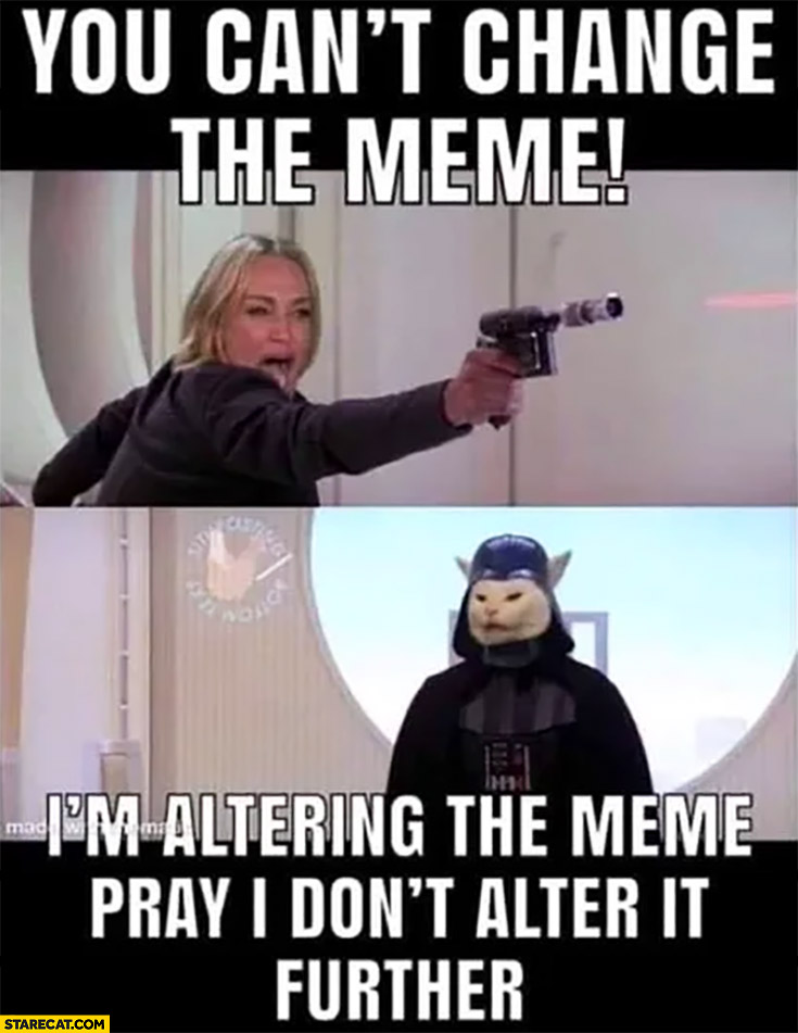 You can't change the meme, I'm altering the meme pray I don't alter it further confused cat Star Wars
