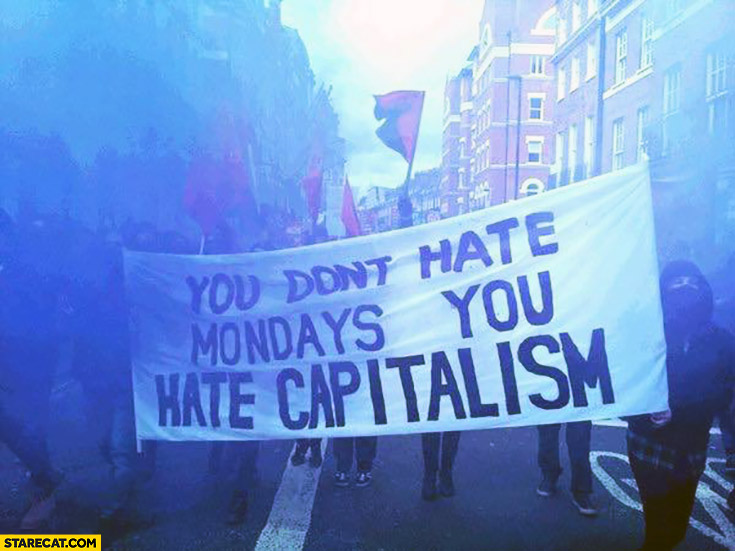 You don't hate Mondays, you hate capitalism protester sign