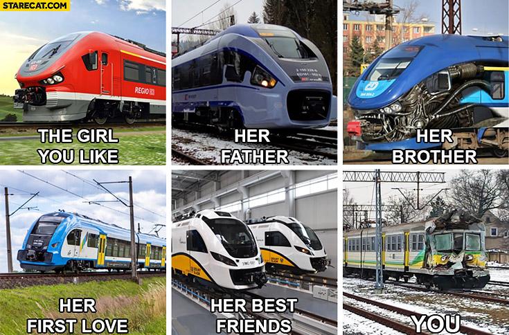 You, the girl you like train trains