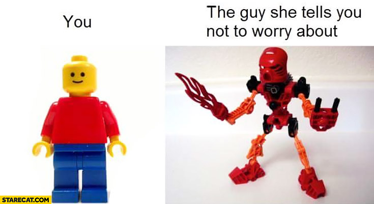 You vs the guy she tells you not to worry about LEGO characters
