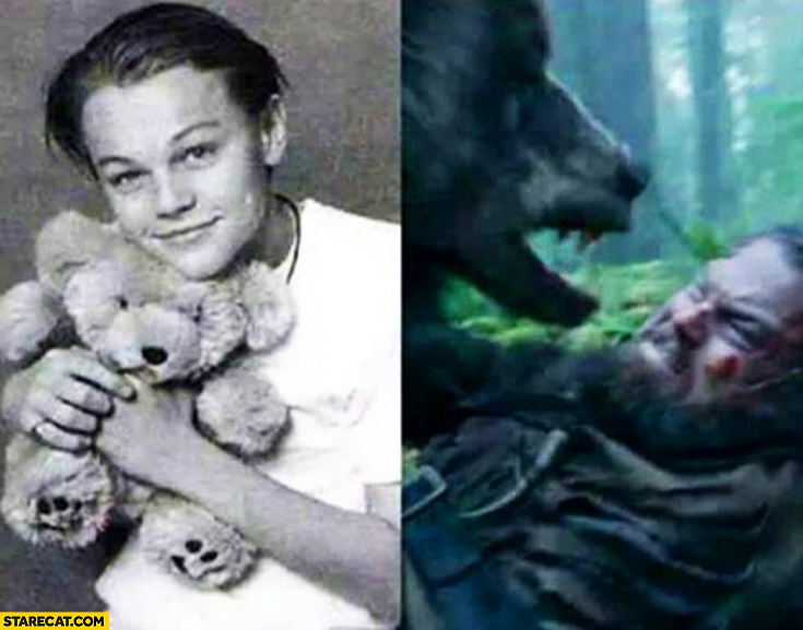 Young Leonardo DiCaprio holding teddybear, attacked by a bear Revenant