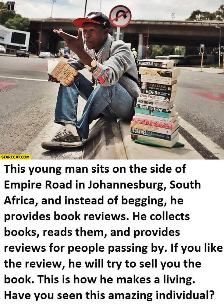 Young man Johannesburg South Africa book reviews instead of begging book seller