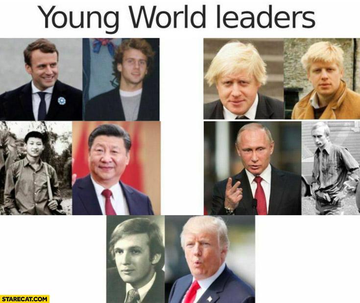 Young world leaders Macron, Putin, Trump, Johnson, Xi Jingping