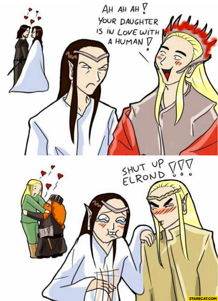Your daughter is in love with a human shut up Elrond