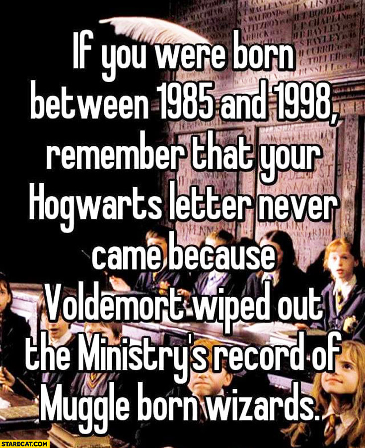 Your Hogwart's letter never came because Voldemort wiped out the ministry's record of muggle born wizards