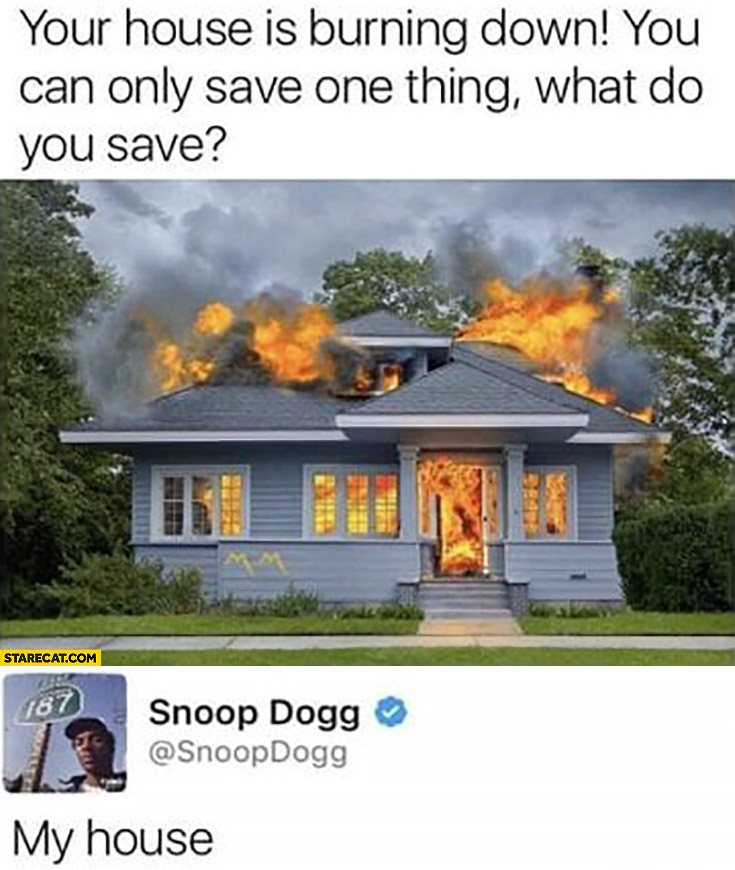 Your house is burning down you can only save one thing what do you save Snoop Dogg my house
