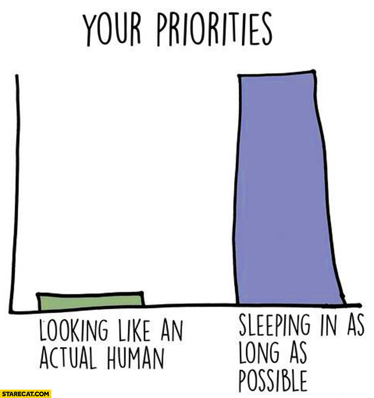Your priorities: looking like an actual human, sleeping in as long as possible