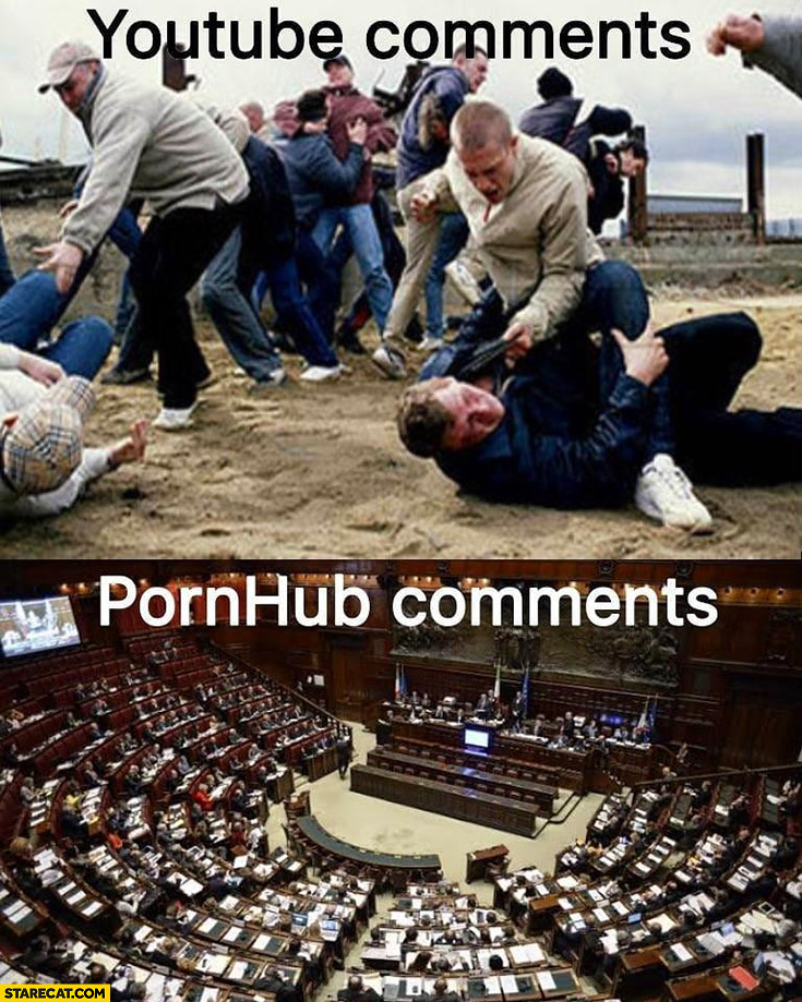 YouTube comments bloodbath vs adult site comments cultural place