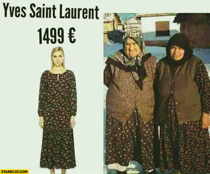 Yves Saint Laurent dress same as old grannies comparison
