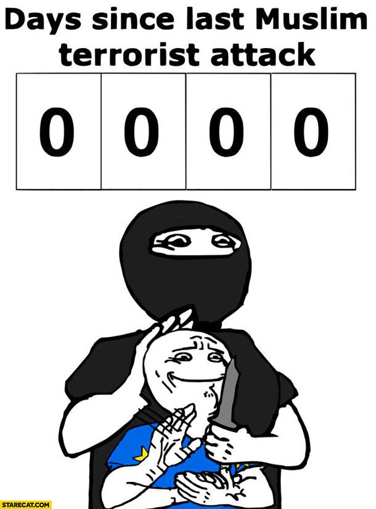 Zero 0 days since last muslim terrorist attack clapping meme