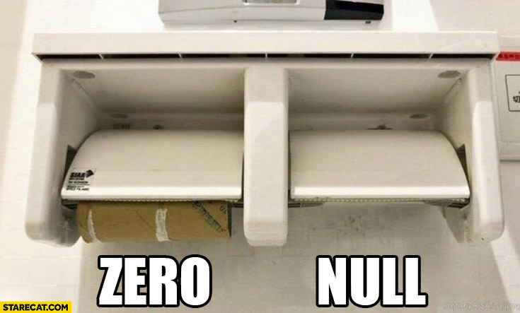 Zero vs null toilet paper programming comparison explaination