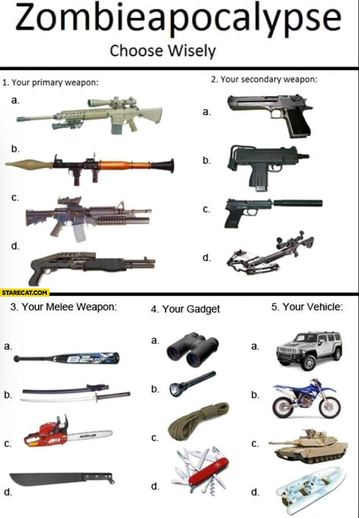 Zombie apocalypse choose wisely: primary weapon, secondary weapon, melee weapon, gadget, vehicle