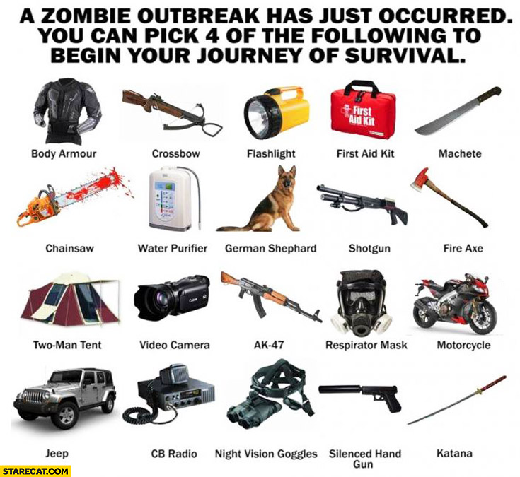 Zombie outbreak pick 4 items survival